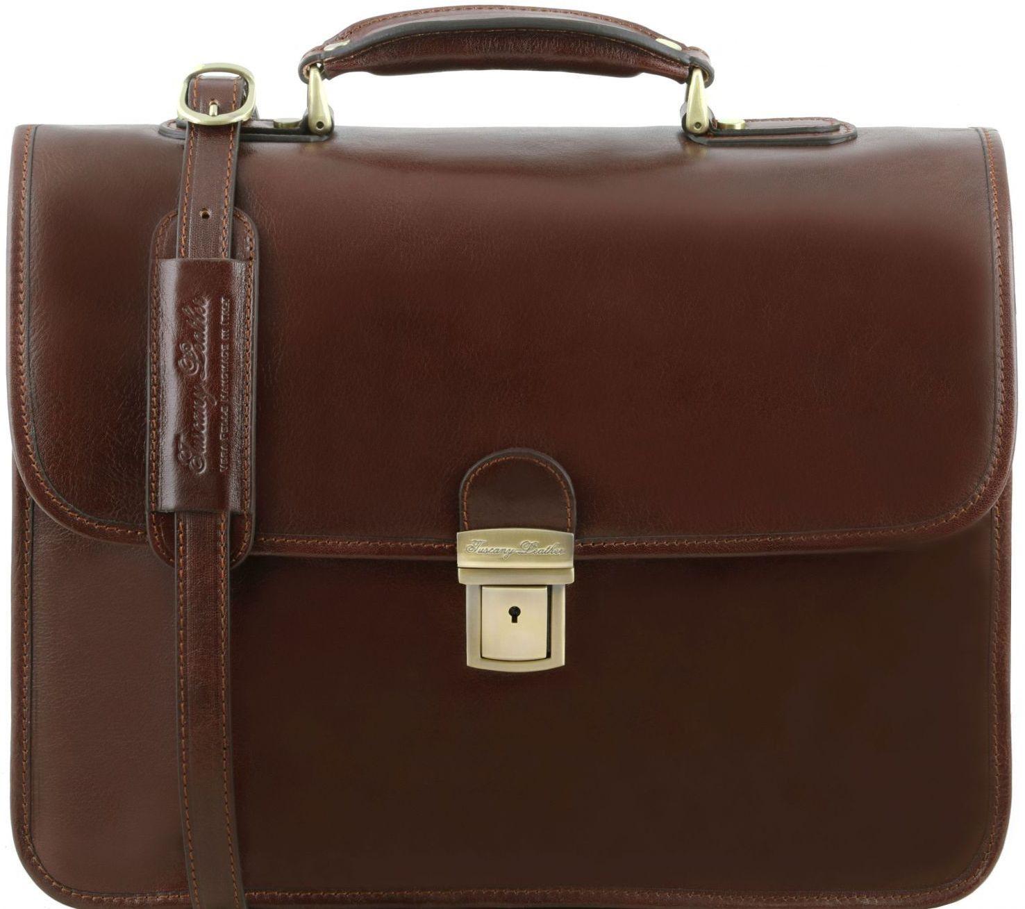 240086f687 Ανδρική Επαγγελματική Τσάντα Δερμάτινη Vernazza Καφέ Tuscany Leather