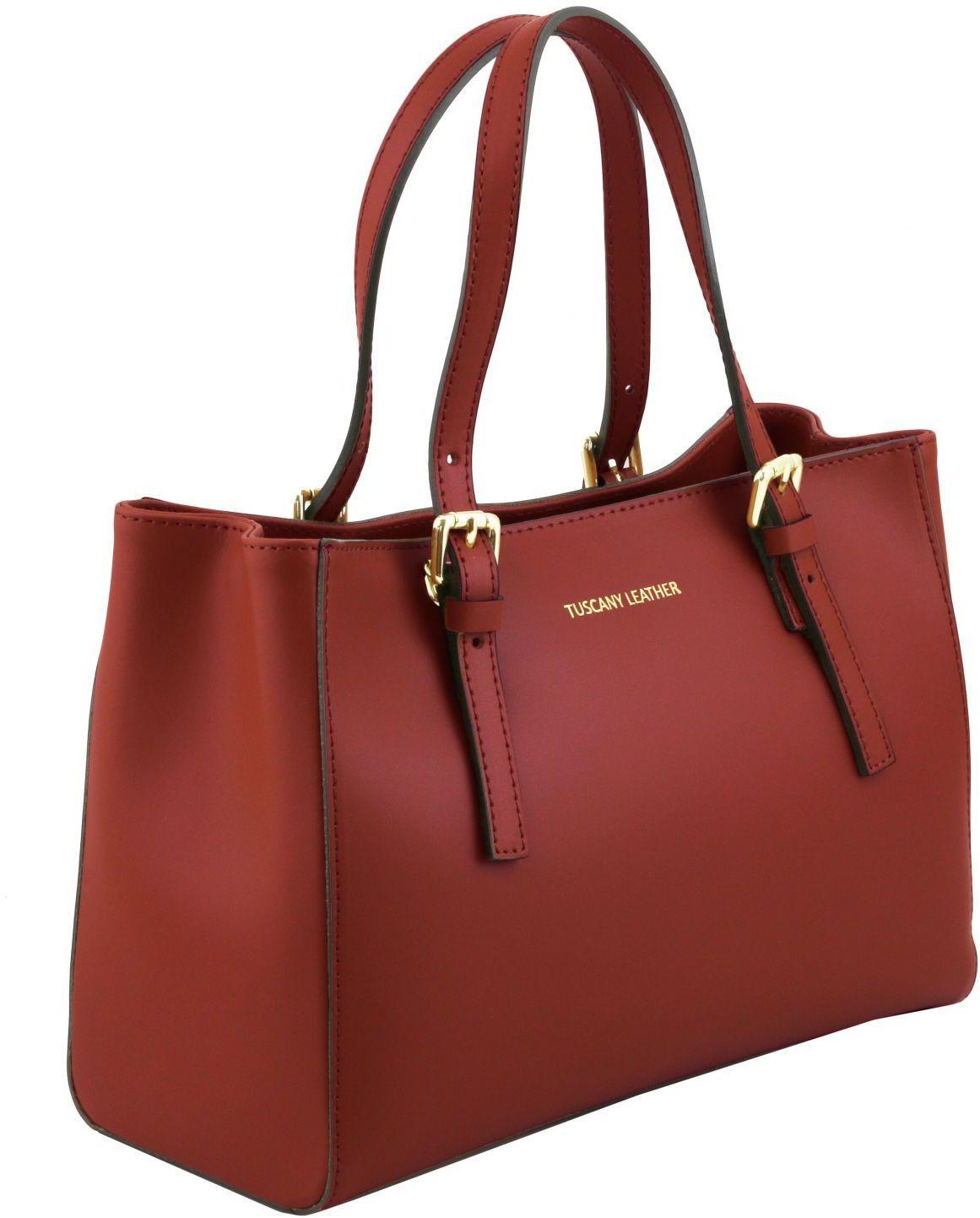 7fdd91c546 Γυναικεία Τσάντα Δερμάτινη Aura Κόκκινο Tuscany Leather