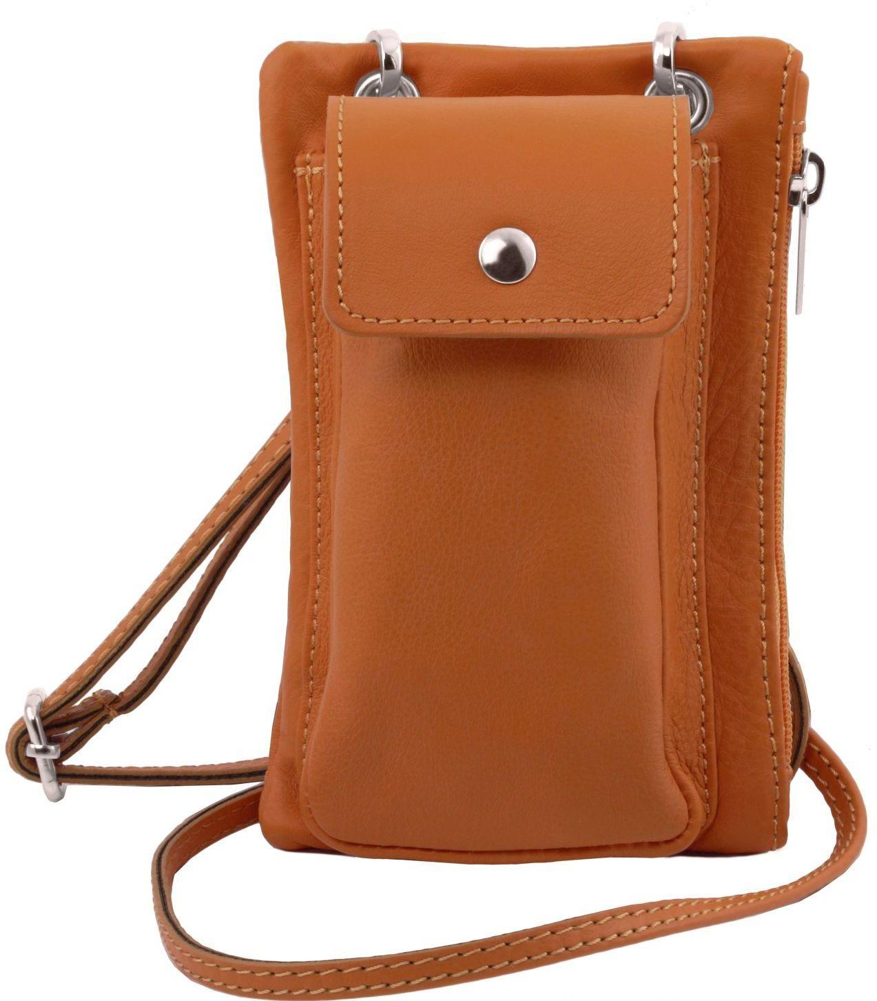 Unisex Τσαντάκι Δερμάτινο Mini Cross TL141423 Κονιάκ Tuscany Leather γυναίκα   τσάντες ώμου   χειρός
