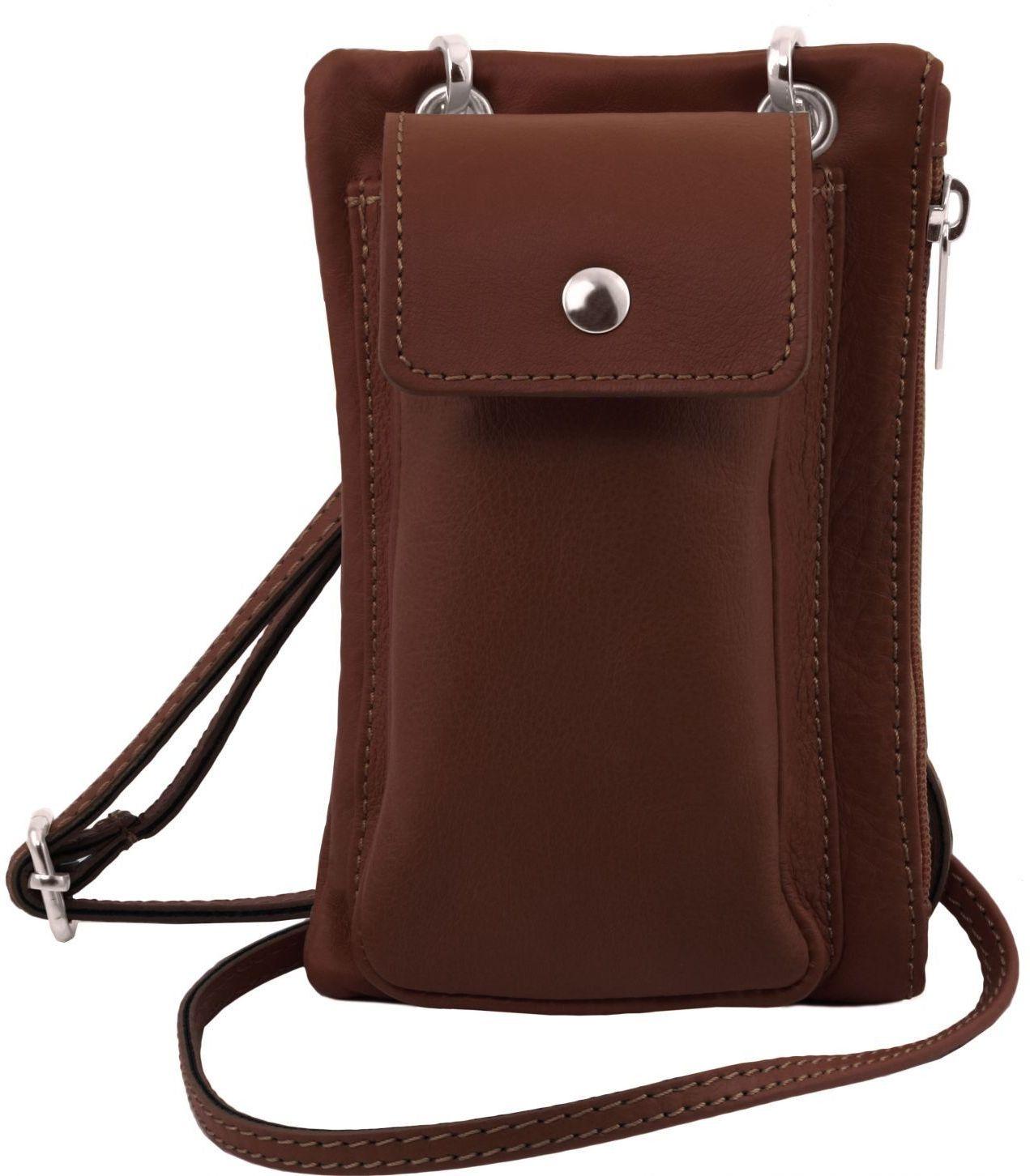 Unisex Τσαντάκι Δερμάτινο Mini Cross TL141423 Καφέ Tuscany Leather γυναίκα   τσάντες ώμου   χειρός