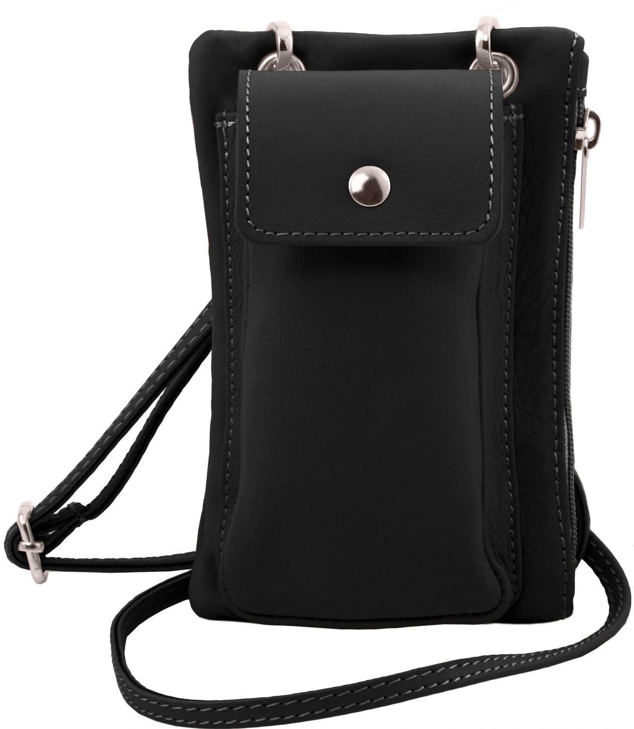 Unisex Τσαντάκι Δερμάτινο Mini Cross TL141423 Μαύρο Tuscany Leather γυναίκα   τσάντες ώμου   χειρός