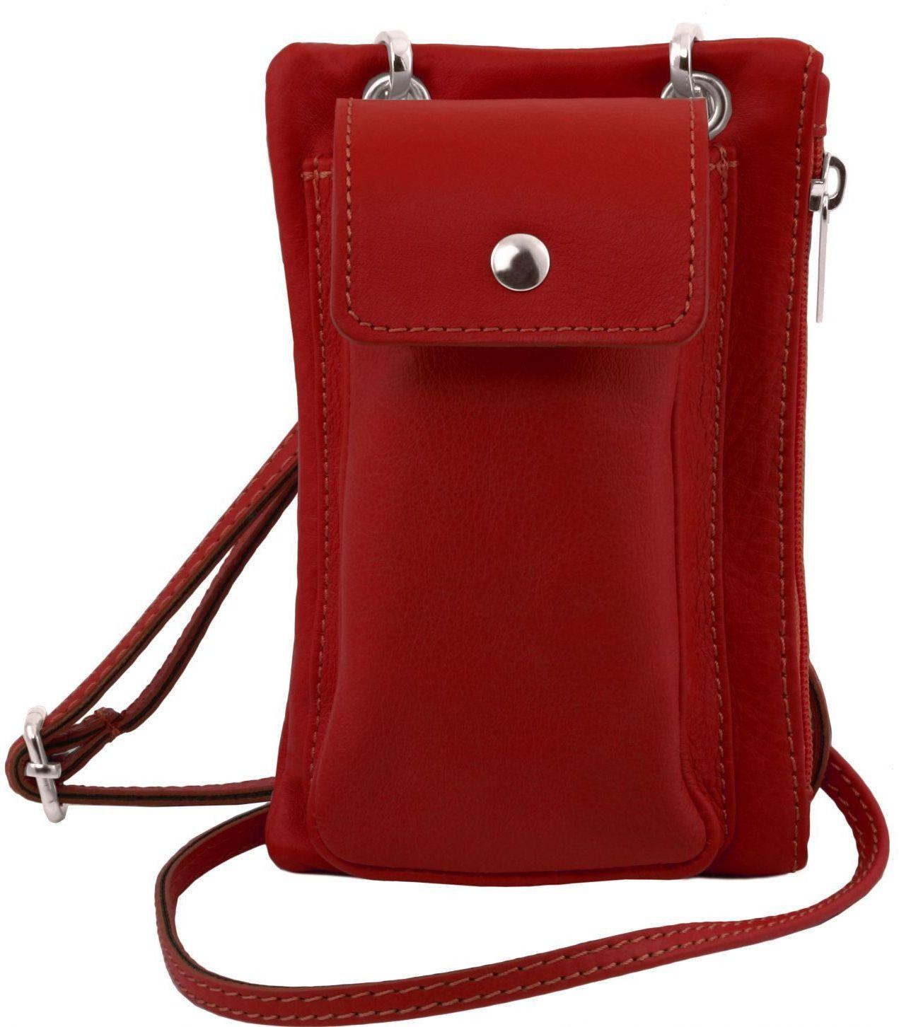 Unisex Τσαντάκι Δερμάτινο Mini Cross TL141423 Κόκκινο Tuscany Leather γυναίκα   τσάντες ώμου   χειρός