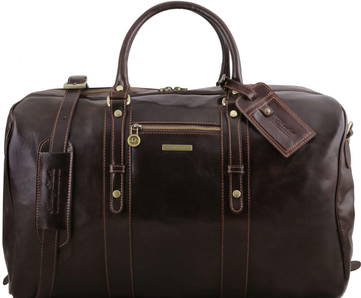 Σάκος ταξιδίου δερμάτινος TL Voyager – TL141401 Καφέ σκούρο Tuscany Leather