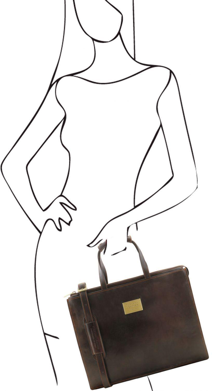 5ae78d7717 ... Γυναικεία Επαγγελματική Τσάντα Δερμάτινη Palermo Καφέ Σκούρο Tuscany  Leather ...