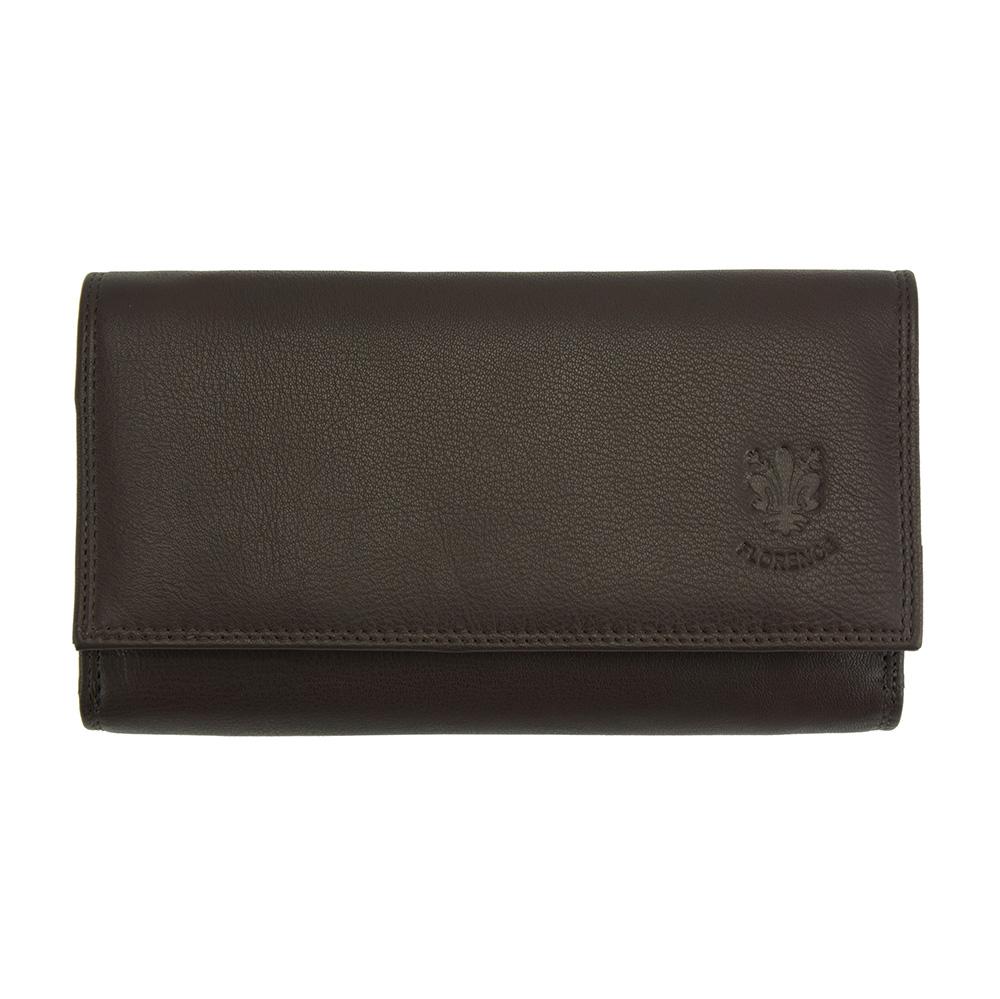 Δερμάτινο Πορτοφόλι Aurora Firenze Leather PF012 Σκούρο Καφέ γυναίκα   πορτοφόλια