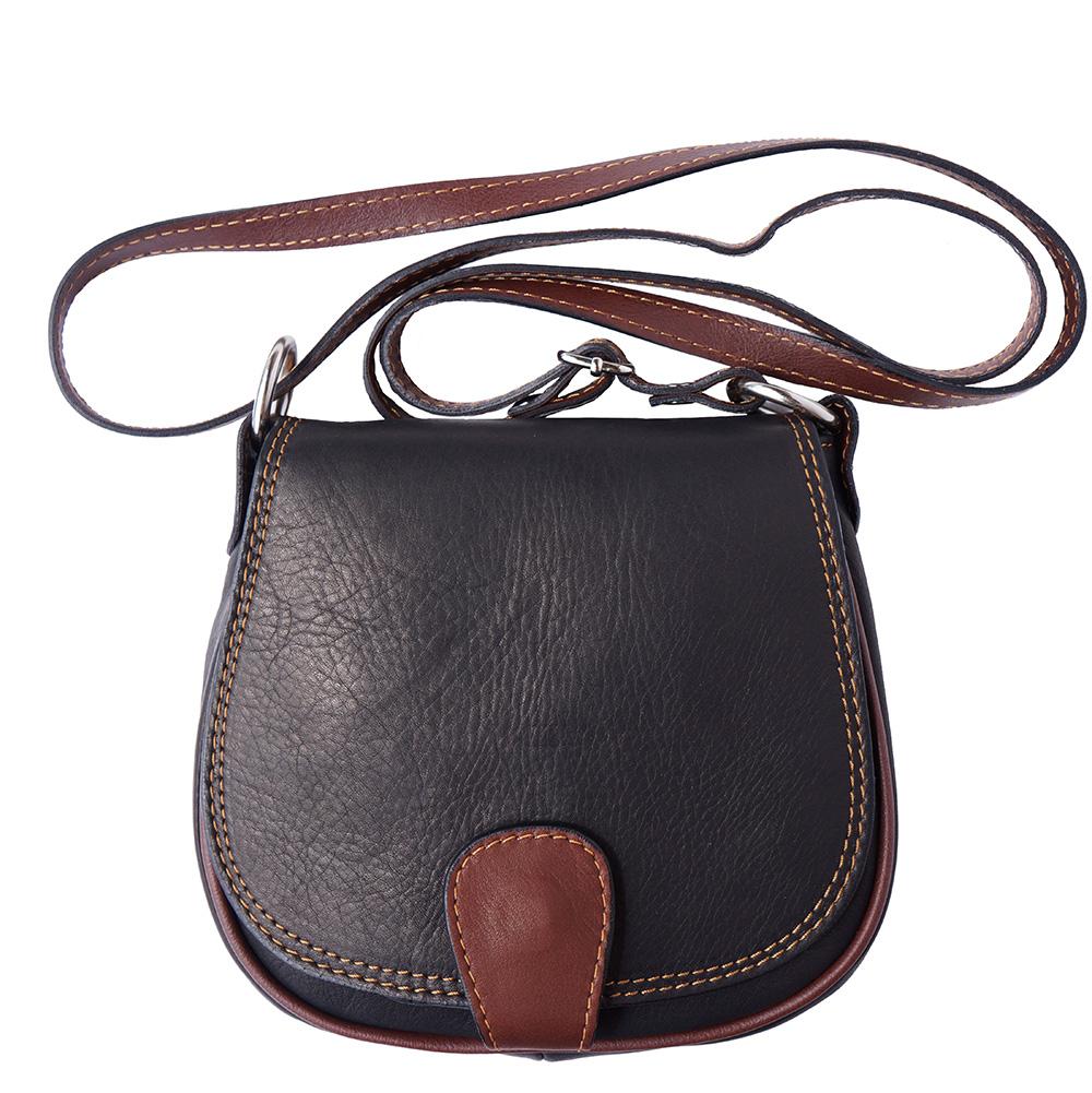Δερμάτινο Τσαντάκι Ωμου Bibiana Firenze Leather B024 Μαύρο/Καφέ