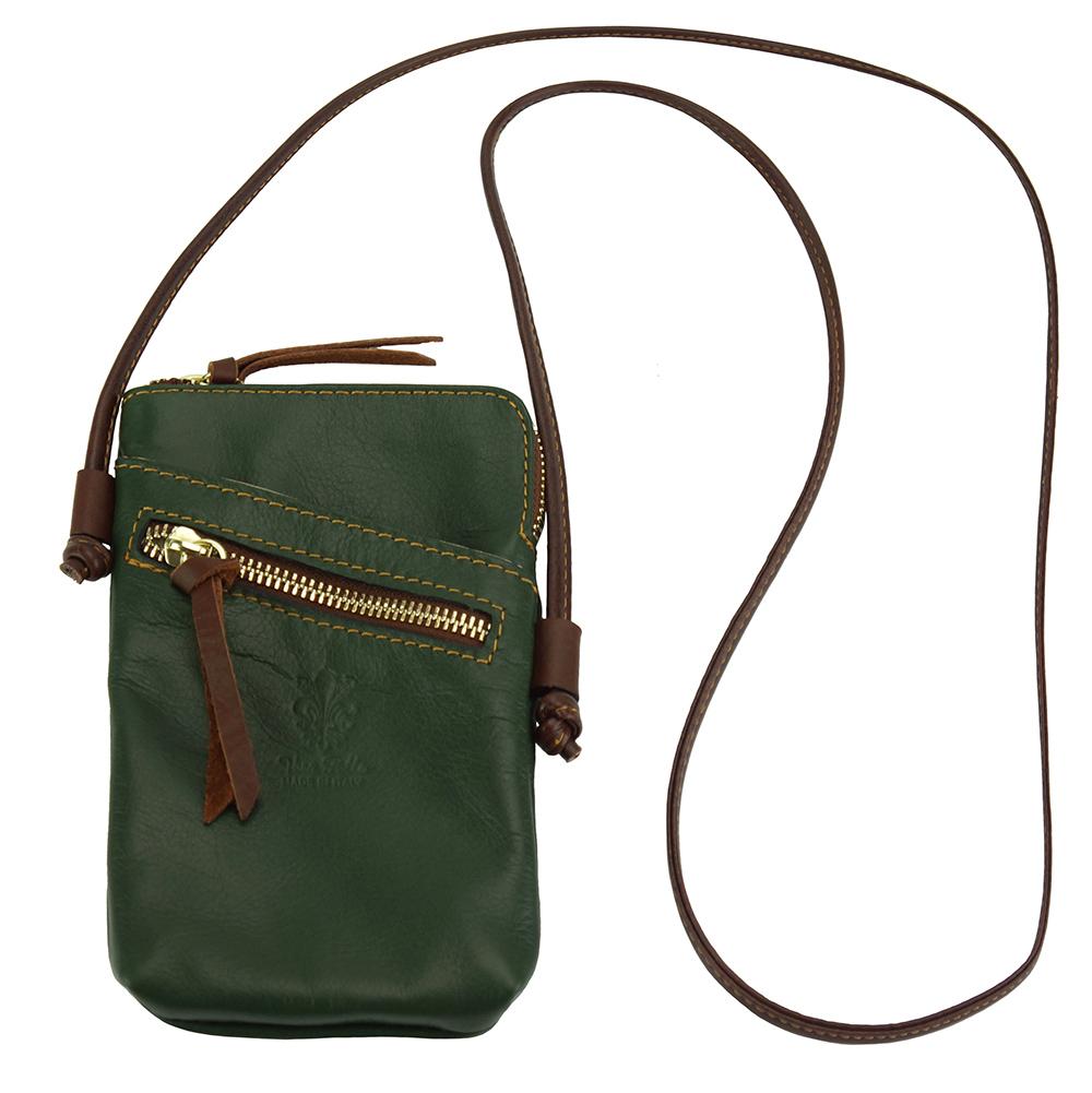 398ae2af5a Δερματινο Τσαντακι Ωμου Adriana Firenze Leather 8612 Σκούρο Πράσινο Καφέ