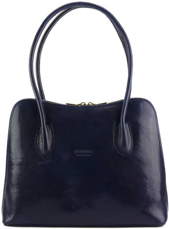 Δερμάτινη Τσάντα Ώμου Claudia V Firenze Leather 216V Σκούρο Μπλε