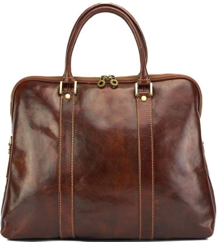 Δερμάτινη Τσάντα Tote Χειρός Ermanno Firenze Leather 7636 Καφέ