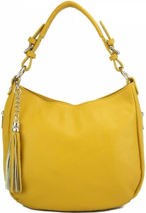 Δερμάτινη Τσάντα Ώμου Victoire Firenze Leather 9210 Κίτρινο