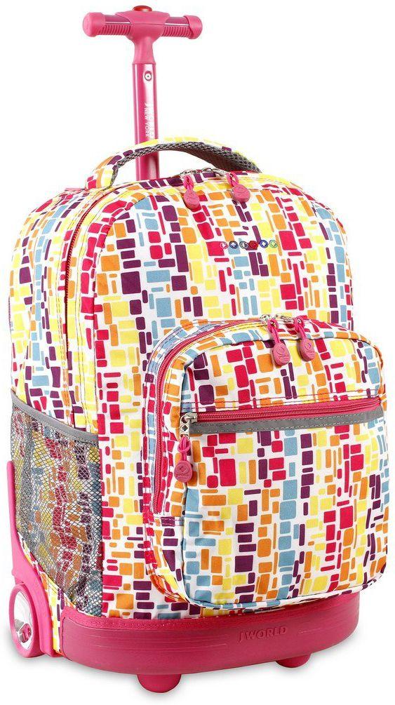 Τσαντα Τρολει Sunrise JWORLD 395-00001 29-Squares Neon παιδί   τσάντες δημοτικού   για κοριτσια