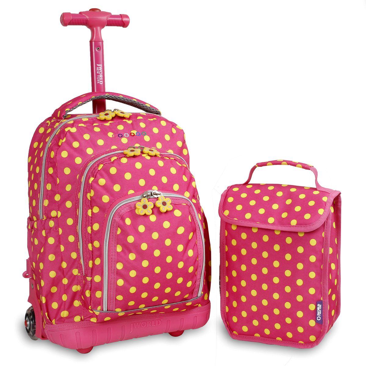 Σετ Σχολικη Τσαντα Τρολει+Τσαντακι Lollipop JWORLD 395-00016 83-Pink Buttons παιδί   τσάντες δημοτικού   για κοριτσια