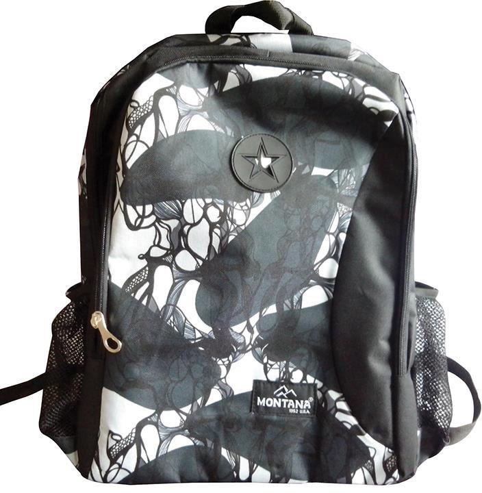 Τσάντα πλάτης μαύρα λουλούδια με 1 θήκη 40x28x13 εκ. Montana 30712