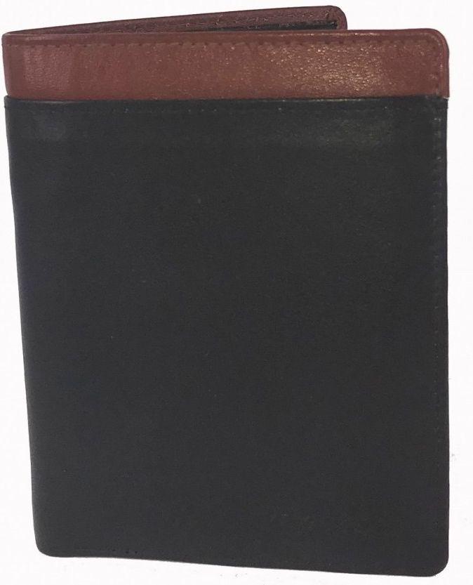 Δερματινο Ανδρικο Πορτοφολι Kouros 12.5x9.5 cm 1175 Μαυρο-Καφε ανδρας   πορτοφόλια