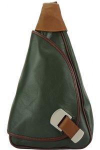Δερμάτινη Τσάντα Πλάτης Dina Firenze Leather 2007 Σκουρο Πρασινο/Καφε