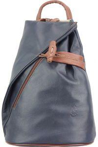 Δερμάτινη Τσάντα Πλάτης Fiorella Firenze Leather 2062 Σκουρο Μπλε/Καφε