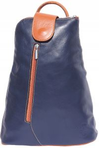 Δερμάτινη Τσάντα Πλάτης Michela GM Firenze Leather 2009 Σκουρο Μπλε/Μπεζ