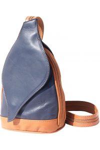 Δερμάτινη Τσάντα Πλάτης Foglia Firenze Leather 2015 Σκουρο Μπλε/Μπεζ