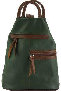 Δερμάτινη Τσάντα Πλάτης Sorbonne Firenze Leather 2064 Σκουρο Πρασινο/Καφε