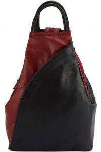 Δερμάτινη Τσάντα Πλάτης Antonella Firenze Leather 2065 Μαύρο/Κόκκινο