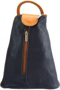 Δερμάτινη Τσάντα Πλάτης Michela Firenze Leather 2001 Σκουρο Μπλε/Μπεζ