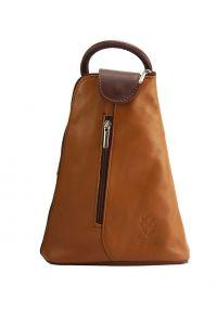 Δερμάτινη Τσάντα Πλάτης Michela Firenze Leather 2001 Μπεζ/Καφε