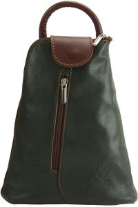 Δερμάτινη Τσάντα Πλάτης Michela Firenze Leather 2001 Σκουρο Πρασινο/Καφε