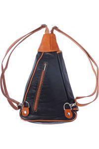 Δερμάτινη Τσάντα Πλάτης Dina Firenze Leather 2007 Μαύρο/Μπεζ