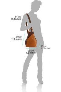 Δερμάτινη Τσάντα Πλάτης Antonella Firenze Leather 2065 Γκρι/Μαύρο
