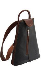 Δερμάτινη Τσάντα Πλάτης Michela Firenze Leather 2001 Μαύρο/Καφε