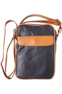 Ανδρικο Δερματινο Τσαντακι Ωμου Firenze Leather B032 Μαύρο/Μπεζ