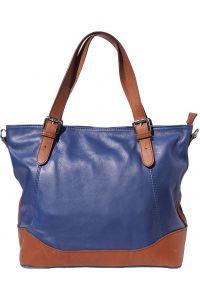 Δερμάτινη Tote Τσαντα Milena Firenze Leather 6140 Σκουρο Μπλε/Καφε