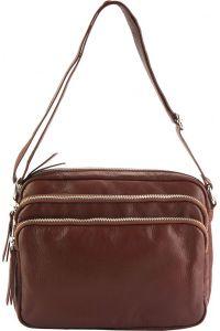 Δερμάτινη Τσάντα Ωμου Assunta Firenze Leather 6129 Καφε