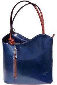 Δερμάτινη Τσαντα Ωμου Cloe Firenze Leather 207 Σκουρο Μπλε/Καφε