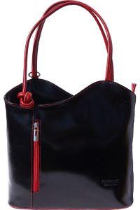 Δερμάτινη Τσαντα Ωμου Cloe Firenze Leather 207 Μαύρο/Κόκκινο