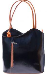 Δερμάτινη Τσαντα Ωμου Cloe Firenze Leather 207 Μαύρο/Μπεζ