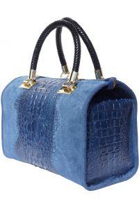 Δερματινη Τσαντα Χειρος Emma Firenze Leather 7002 Σκουρο Μπλε