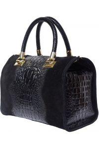 Δερματινη Τσαντα Χειρος Emma Firenze Leather 7002 Μαύρο