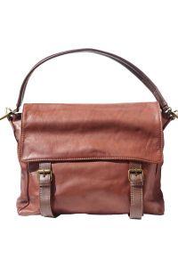 Δερματινη Τσαντα Ωμου Freestyle Firenze Leather 6141 Καφε/Σκουρο Καφε