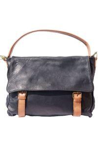 Δερματινη Τσαντα Ωμου Freestyle Firenze Leather 6141 Μαύρο/Μπεζ