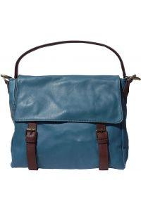 Δερματινη Τσαντα Ωμου Freestyle Firenze Leather 6141 Σκουρο Γαλαζιο/Καφε