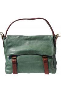 Δερματινη Τσαντα Ωμου Freestyle Firenze Leather 6141 Σκουρο Πρασινο/Καφε