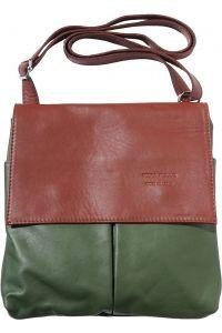 Τσαντα Ωμου Δερματινη Oriana Firenze Leather 2086 Σκουρο Πρασινο/Καφε