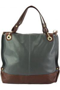 Δερμάτινη Τσάντα Χειρός Alice Firenze Leather 8005 Γκρι/Καφε