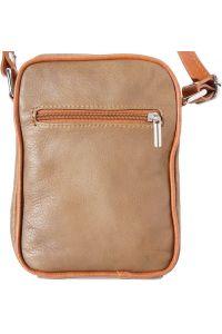 Ανδρικο Δερματινο Τσαντακι Ωμου Firenze Leather B032 Σκουρο /Μπεζ