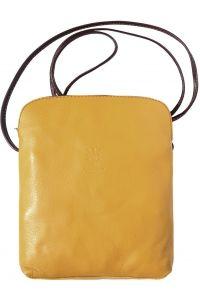 Δερματινο Τσαντακι Ωμου Mia Gm Firenze Leather 8610 Κιτρινο/Καφε