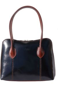Δερμάτινη Τσάντα Ωμου Claudia Firenze Leather 216 Μαύρο/Καφε