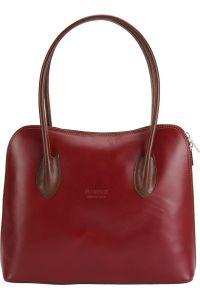 Δερμάτινη Τσάντα Ωμου Claudia Firenze Leather 216 Κόκκινο/Καφε