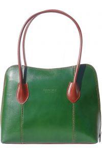 Δερμάτινη Τσάντα Ωμου Claudia Firenze Leather 216 Σκουρο Πρασινο/Καφε
