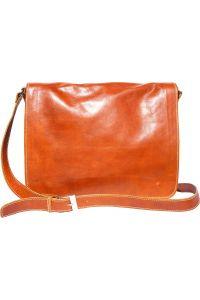 Δερματινη Τσαντα Ταχυδρομου Mirko GM Firenze Leather 6517 Μπεζ